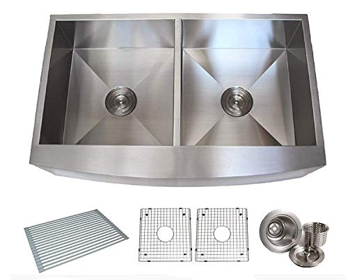 (36 Inch Zero Radius Design 16 Gauge Double 5050 Bowl Stainless Steel Curve Front Farmhouse Apron Kitchen Sink Premium Package KKR-EFE3621)