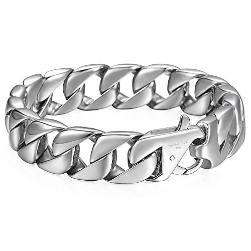 Trendsmax Cuban Bracelet Mens Boys Silver 316L Stainless Steel Round Curb Chain 15mm 8.62inch