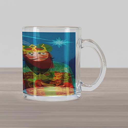 Ambesonne Religious Glass Mug, Three Wise Men in Traditional Costumes Vintage Christmas Holiday Illustration, Printed Clear Glass Coffee Mug Cup for Beverages Water Tea Drinks, Multicolor