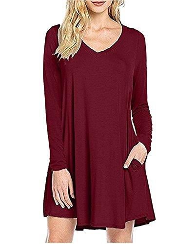 Keyuan Women's Casual V-Neck Swing T-Shirt Loose Dress Wine Red,S