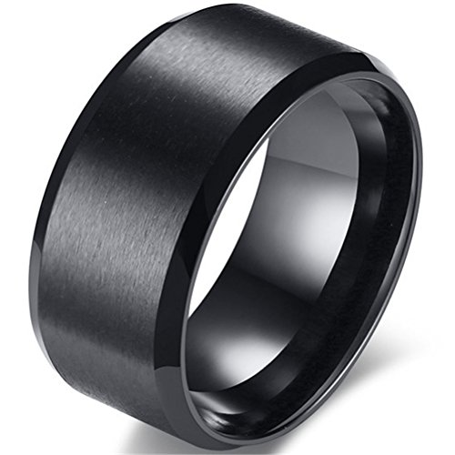 Beveled Palladium (Fashion Month Mens 10mm Black Stainless Steel Ring Cool Simple Wedding Engagement Promise Big Band Matte Finished Size 9)