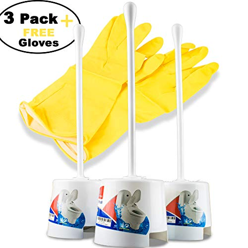 rush set with holder - portable self standing basic white set with flexible handle & soft nylon bristles; Discreet and slim - Fits well - Eco friendly with free cleaning gloves ()
