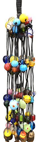 Glass Dragonfly Beads (Large Wind Chime With Glass Beads, String, and Tied Sections 21 in Long Wind Chime with Nana Bells)