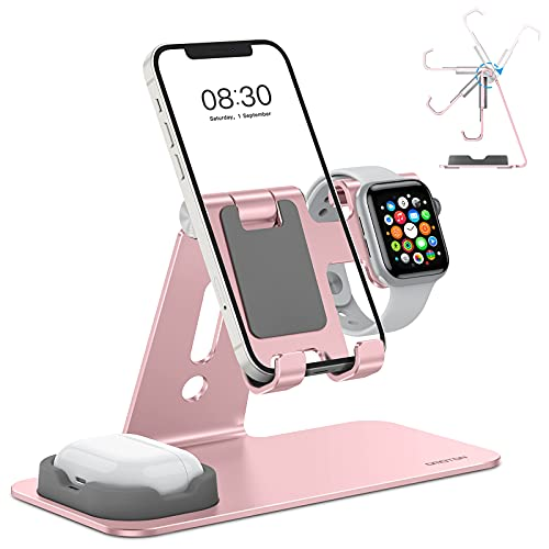 OMOTON Adjustable Apple Watch Stand, Triunity Charging Dock For iWatch, AirPod and iPhone 11/XR/XS/6/7/8 Plus/12 Pro Max, Original Apple Watch Magnetic Charging Cable Required, Rose Gold
