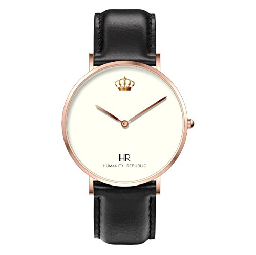 Lifestyle Quartz Watch - Crown - Rose Gold Case and Black Leather Band