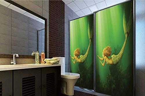 Horrisophie dodo 3D Privacy Window Film No Glue,Mermaid,Mermaid with Fish Tail Swimming in The Deep Sea Fantasy World Artwork,Green Dark Green Ginger,47.24