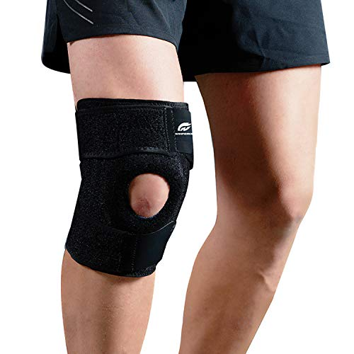 - Knee Brace Support, Meniscus Tear Arthritis Adjustable Compression for ACL Fitness Women and Men, Non-slip Open Patella Stabilizer, Comfortable Neoprene Knee Support Sleeve, Spring Support All Sports