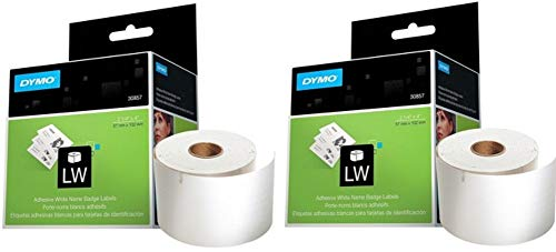 DYMO 30857 LW Name Badge Labels (Pack of 2) for use with LabelWriter 450, LabelWriter 450 Turbo and LabelWriter 450 Twin Turbo Address Labels; Two Rolls, Each with 250 2-1/4'' x 4'' Labels Dymo Adhesive Name Badge