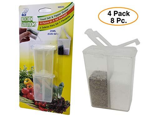 (Travel Salt & Pepper Shaker mini Set (8 sets) for picnics, camping, lunchboxes.)