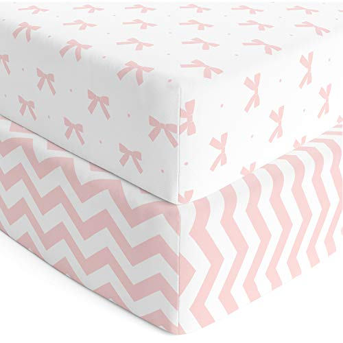 Cuddly Cubs Premium Jersey Crib Sheets, Gentle on Baby Skin and Extra Soft for a Sound Sleep! Fitted and Stretchy, NO Struggle to Get on the Mattress. Cute Chevron and Bow Pattern in Pink and Gray (Bow Pattern Cotton)