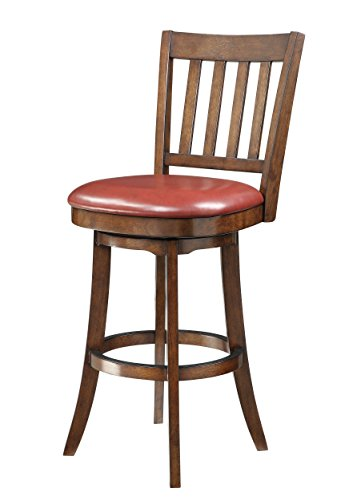 INSPIRED by Bassett Mission Full Back Bar Stool with Solid Wood Frame and Bonded Leather Seat, 30-Inch, Crimson ()