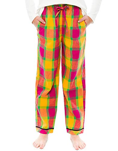 TINFL Girls Plaid Check Soft 100% Cotton Lounge Pants GP-06-Orange-YM ()