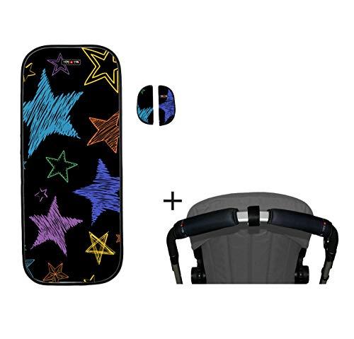 Tris & Ton conjunto colchoneta silla paseo + empunadura funda protector manillar + protector arneses PMH (Trisyton) (Stars Colors)