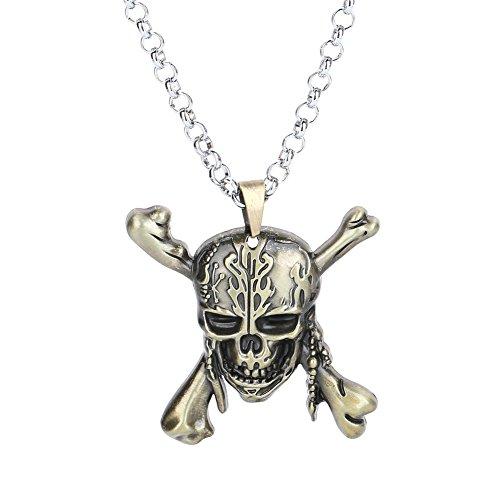 LUREME Metal Skull Pendant Necklace-Anti Bronze
