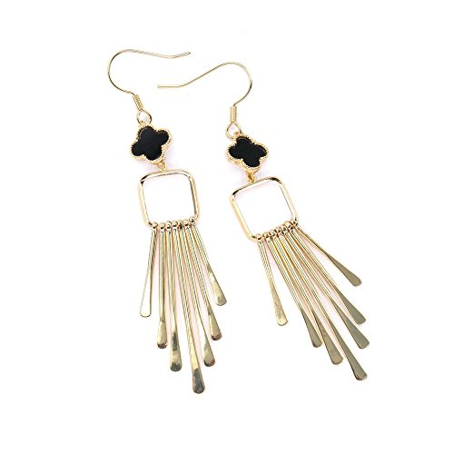 Dangling Square Alhambra Earrings, Minimalist Earrings, Black Alhambra Earrings, Birthday Gift, Night Out Earrings BE360-2 (Gold)