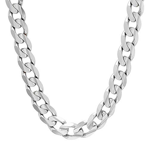 Verona Jewelers Italian 925 Solid Sterling Silver Mens Necklace,7.5MM 8MM 11MM 15MM Curb Cuban Chain Necklace for Men- Solid Heavy Link, Thick Link Chain Necklace, 20, 22, 24, 30, (26, 13MM)