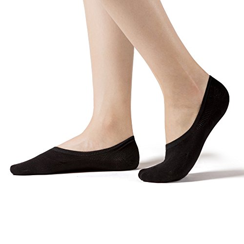 Active Slip - SHEEC SoleHugger Active X - Reinforced Antibacterial No Show Socks for Women - Guaranteed Non-Slip - Black Regular 4 pairs