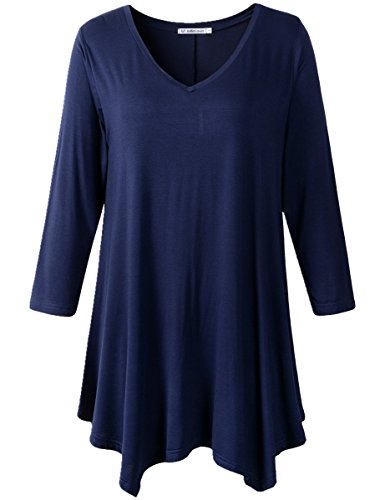 JollieLovin Womens Plus Size 3/4 Sleeve V-neck Flare Hem Loose-fit Tunic Top (2X, B NAVY BLUE)