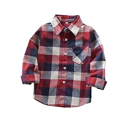 Kids Little Boys Girls Baby Long Sleeve Button Down Red Plaid Flannel Shirt Plaid Girl Boy NB-6T