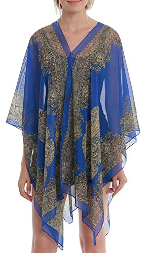 - Womens Casual Cover Ups Lightweight Chiffon Scarf Swimsuit Fashion Dress Blue Flower
