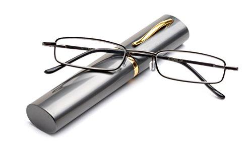 c919372abd Compact Spring Temple Reading Glasses w Portable Pocket Clip Aluminum Case  +2.50
