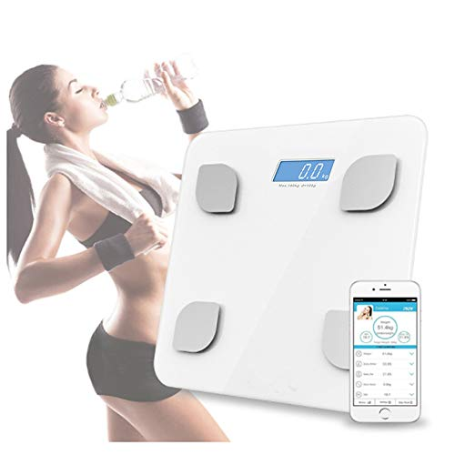 Bluetooth Body Fat Scale with Fitness Body Composition Analysis, Auto On/Off, Auto Zeroing, Tempered Glass Surface, Lb/Kg/St Units Health Monitor by QJHP