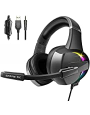 Gaming Headset for PS4 PC Xbox one, 3D Stereo Surround Sound Gaming Headphones Noise Cancelling Microphone, RGB LED Lights & Soft Memory Earmuffs Headset for PS5 Laptops Mac