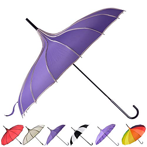 Outgeek Umbrella Retro Pagoda Umbrella Parasol Umbrella Sun Umbrella UV Protection Umbrella Retro with Hook Handle (Dark Purple)