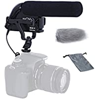 Movo VXR5000 Shotgun Condenser Video Microphone - All-Metal Build with High-Pass Filter, Foam & Furry Windscreens, & Case - for Canon/Nikon DSLR Video Cameras