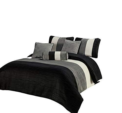 Amber Queen Size 7pc Comforter Set Black, Silver, Cream, Metallic Colors Fused Jacquard Heavy Thick Fabric Pleating Stripes Bedding Set ()