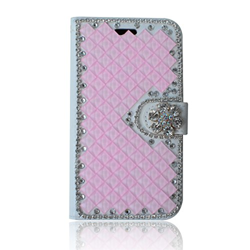 (Huawei Ascend Mate 2 Case,Gift_Source [Card Slot] [Kickstand Feature] 3D Bling Crystal Handmade Diamond Leather Wallet Magnet Flip Folio Case for Huawei Ascend Mate 2 [Pink])