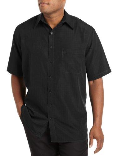 Harbor Bay by DXL Big and Tall Short-Sleeve Microfiber Sport Shirt, Black 1XLTall
