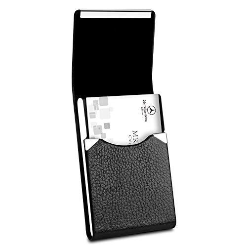 Padike Professional Business Card Holder PU Leather Business Card Case Name Card Holder Slim Metal Pocket Card Holder with Magnetic Shut (Black) ()