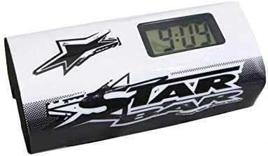 STAR BAR Mousse de Guidon Moto Cross Booster Pads Blanc avec chronometre integre