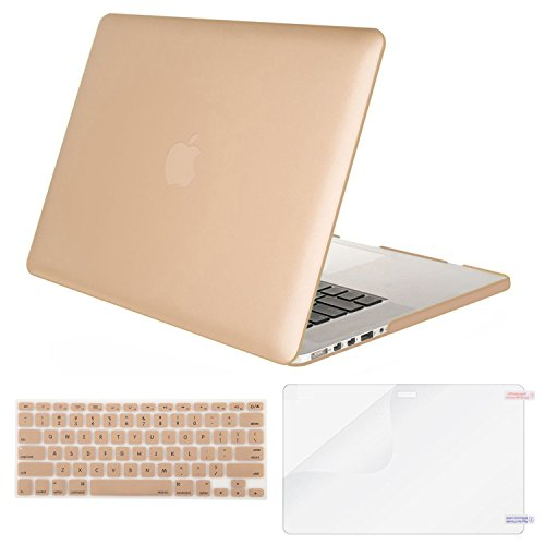 MOSISO Case Only Compatible MacBook Pro (W/O USB-C) Retina 13 Inch (A1502/A1425)(W/O CD-ROM) Release 2015/2014/2013/end 2012 Plastic Hard Shell & Keyboard Cover & Screen Protector, Gold