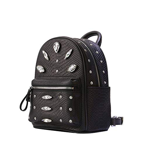 Square Skin lf Solid Backpack Rivet Shopping Travel Soft Color Leisure Zipper Cross Handbag By Black Modern Rlf section Metal Pu Women's Bag 7qgSBxwff