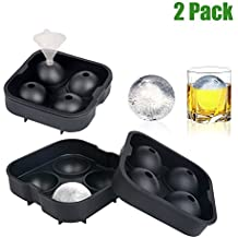 WONTECHMI Ice Cube Trays, Set of 2, Silicone Sphere Whiskey Ice Ball Maker with Lids and a Funnel for Cocktails & Bourbon, Popsicle Molds Set and Ice Cream Makers, Reusable, Father's Day Gift (BLACK)