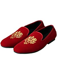 da6e58e32fd Men s Fashion Velvet Slip-on Shoes Round Toe Mens Casual Embroidered Loafers
