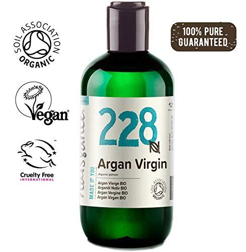 Naissance Organic Moroccan Argan Virgin Oil, 8 fl oz - Pure, Natural, UK Certified Organic, Vegan, Hexane free, No GMO-Unscented Natural Moisturizer & Conditioner for Face, Hair, Skin & Nails (Best Argan Oil For Hair Uk)