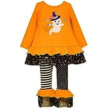 Bonnie Jean Little Girls' Orange GHOST Applique Halloween Leggings outfit