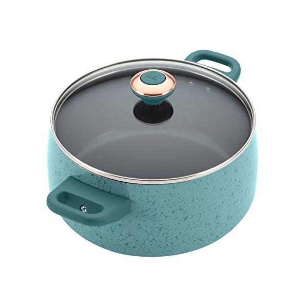 Paula Deen Signature Nonstick Cookware Pots and Pans Set, 15 Piece, Aqua Speckle 4