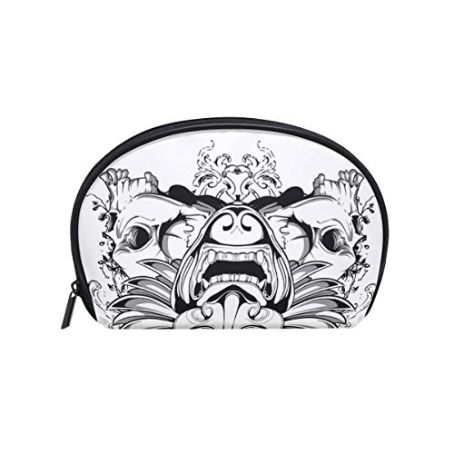 (Makeup Cosmetic Bag Mysterious Cool Skull Owl And Wings with Zipper)