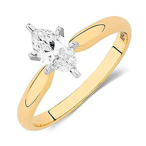 Solitaire Engagement Ring 1/2 Ct Marquise Cut Sim Diamond in 14k Yellow Gold Fn 925 Sterling Silver -