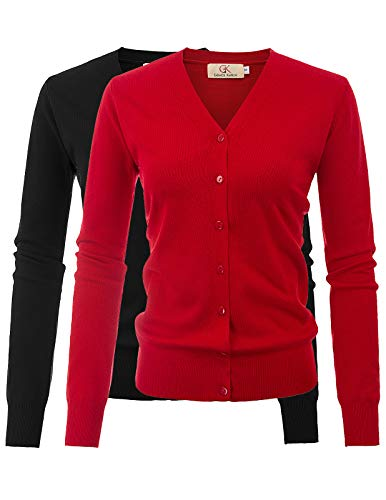 (Women's Button Down V-Neck Chunky Plus Size Solid Sweater Cardigan(M,2 Pack Black Red))