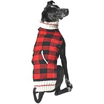 Chilly Dog Buffalo Plaid Dog Sweater, X-Large