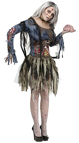 Tattered Women's Zombie Costume, Grey, Various Sizes