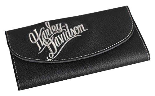 Harley-Davidson Women's Embroidered Script Tri-Fold Wallet, Black ZWL3871-CRMBLK