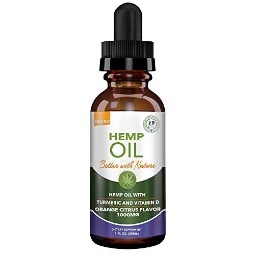 Hemp Oil 1000mg - with Turmeric & Vitamin D - Inflammaton, M