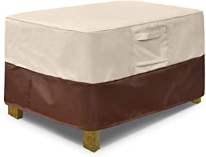 Vailge Rectangle Patio Ottoman Cover, Waterproof Outdoor Ottoman Cover with Padded Handles, Patio End Table Cover, Heavy Duty Patio Furniture Covers (Medium,Beige & Brown)