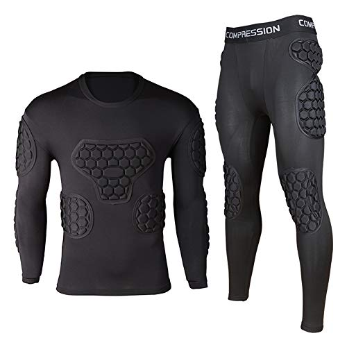 Shinestone Youth Adult Men's Goalkeeper Armor BodyShield Padded Compression Shirt Pants and Short with Sponge Protector for Football Baseball,etc (Black Sets, X-Large) ()